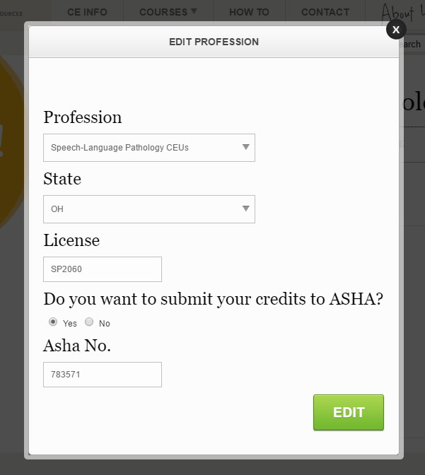 ASHA Reporting Option